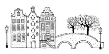 Amsterdam Street Scene. Vector Outline Sketch Hand Drawn Illustration. Three Houses With Bridge, Lantern, Trees Isolated On White Background
