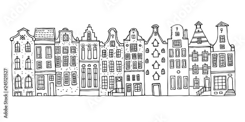 Photo  Amsterdam vector sketch hand drawn illustration