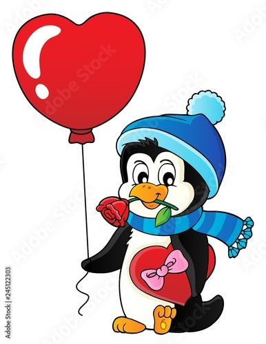 Poster Voor kinderen Cute Valentine penguin theme image 3