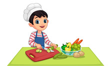Cute Little Boy Cutting Vegeta...
