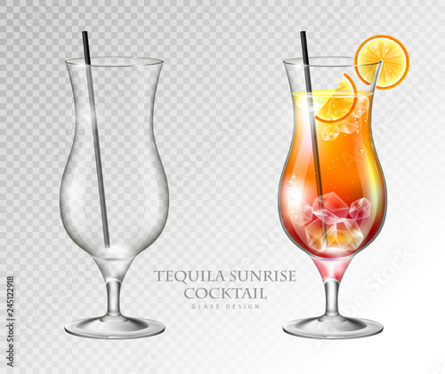 Fotografía  Realistic cocktail tequila sunrise vector illustration on transparent background