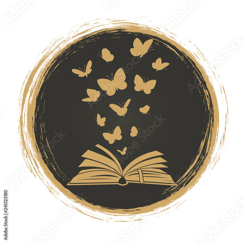 Poster Butterflies in Grunge Vintage label with open book and butterflies silhouettes. Illustration of book and butterfly