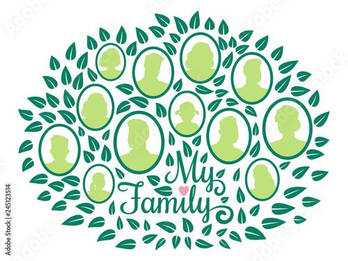 Photo Genealogical family tree, my family green foliage vector illustration isolated on white background