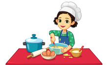 Cute Little Girl Cooking Vector Illustration