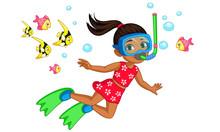 Cute Little Girl Diver Cartoon Vector Illustration