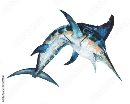 Watercolor hand-drawn marlin illustration - jumping up, playful, happy Canvas Print