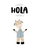 Hola - Ładny ręcznie rysowane plakat przedszkola z żyrafa zwierząt i postać z kreskówki. w stylu skandynawskim. Ilustracji wektorowych. - 245125190
