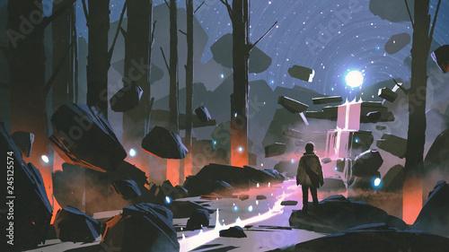 mężczyzna patrząc na świecącą piłkę świetlną unoszącą się nad wodospadem w zaczarowanym lesie, cyfrowy styl sztuki, malarstwo ilustracyjne