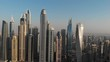 Panorama of the modern district Dubai Marina against the sky. United Arab Emirates.