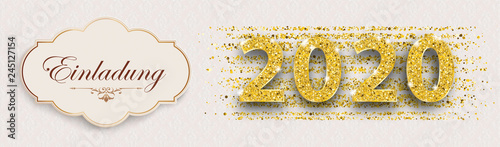 Billede på lærred Edle Einladungskarte für das Jahr 2020