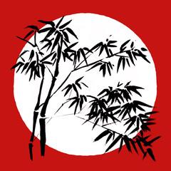 Panel Szklany Bambus Japan Traditional japanese painting Sumi-e art Bamboo