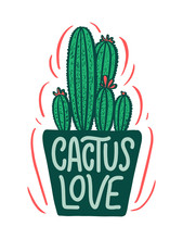 Lettering Quote About Cactus, ...