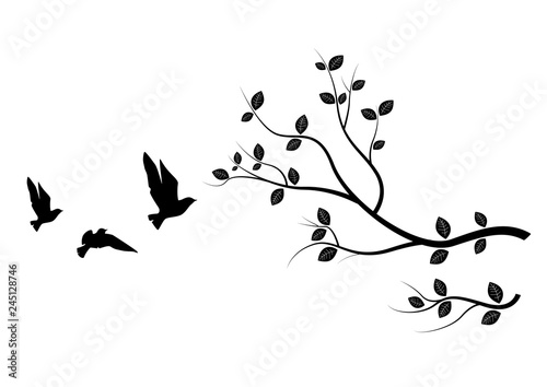Photo Flying Birds On Branch, Birds Silhouette,  Birds on Tree, Art Design, Wall Art, Wall Decals