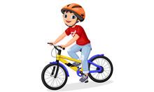 Happy Little Boy In Helmet Rid...