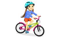 Happy Little Girl In Helmet Riding Bicycle