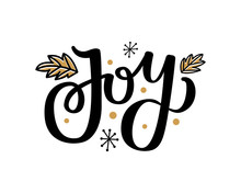 Jot Print With Leaves, Snowflakes, Lettering Text