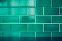 Green Ceramic Tiles Wall Background And Texture.
