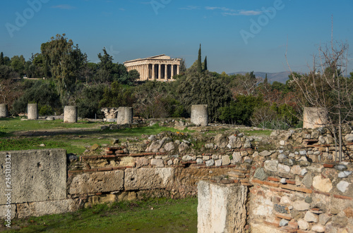 Ruins of Ancient Agora with Temple of Hephaestus at background Canvas Print
