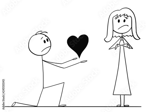 Stampa su Tela Cartoon stick drawing conceptual illustration of man kneeling and giving big heart to his beloved woman of love, but she rejects his proposal