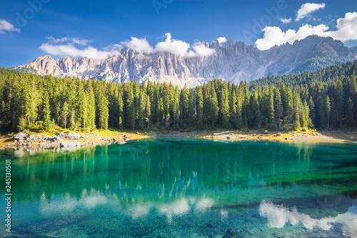 Carezza lake and Latemar mountain, Bolzano province, South Tyrol, Italy Fototapet