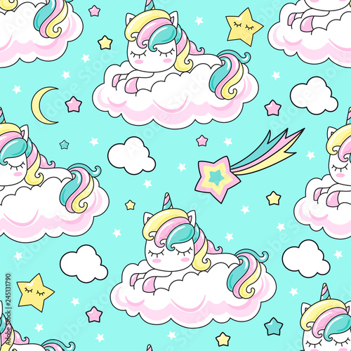 obraz PCV Seamless pattern. Rainbow unicorn on a cloud. For registration of fabric, wrapping paper, wallpaper, etc. Vector