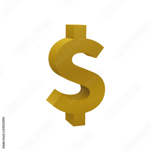 Fotografie, Obraz  Gold colored dollar sign, currency icon