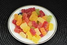 Teddy Gelatin,gummies,gummi Bears On A Porcelain Plate