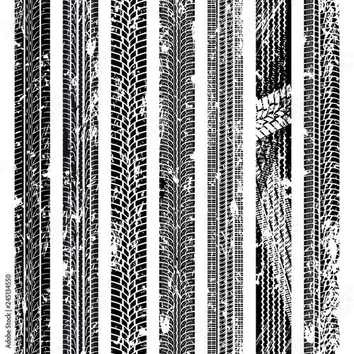 Fototapeta Set of seamless car tire tracks isolated on white background, seamless vector te