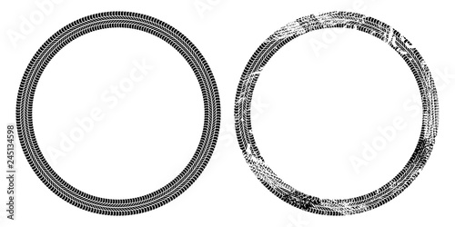 Round frame of car tire tracks isolated on white background