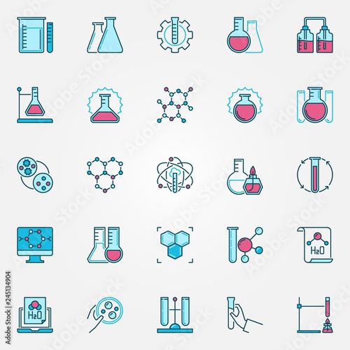 Fotografia  Chemistry Science modern icons set