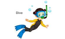 Little Girl Diving Vector Illu...