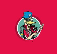 Duck Thief Cartoon Holding Kni...