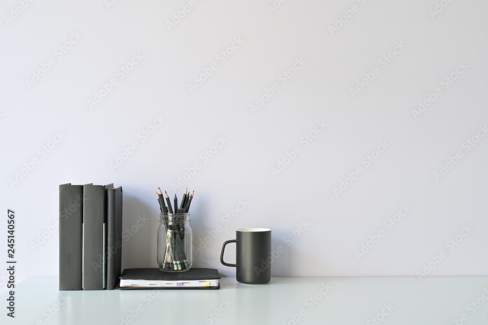 Fototapety, obrazy: Mockup workspace desk and copy space books, coffee and pencil on white desk.