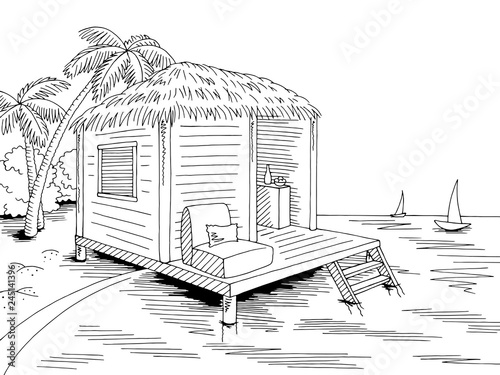 Fotografía Bungalow hut house coast beach graphic black white sea landscape sketch illustra