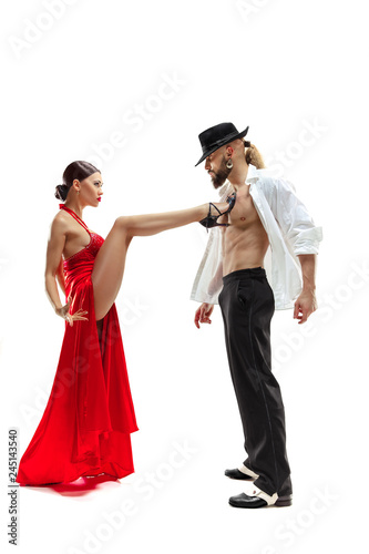 Wallpaper Mural Portrait of young elegance tango dancers isolated over white background