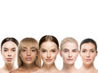 canvas print picture - Ethnic beauty women cosmetic beautiful female group healthy skin and hair different skin tones