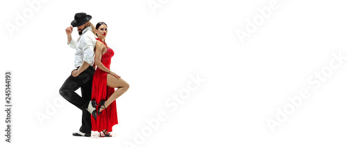 Leinwand Poster Portrait of young elegance tango dancers isolated over white background