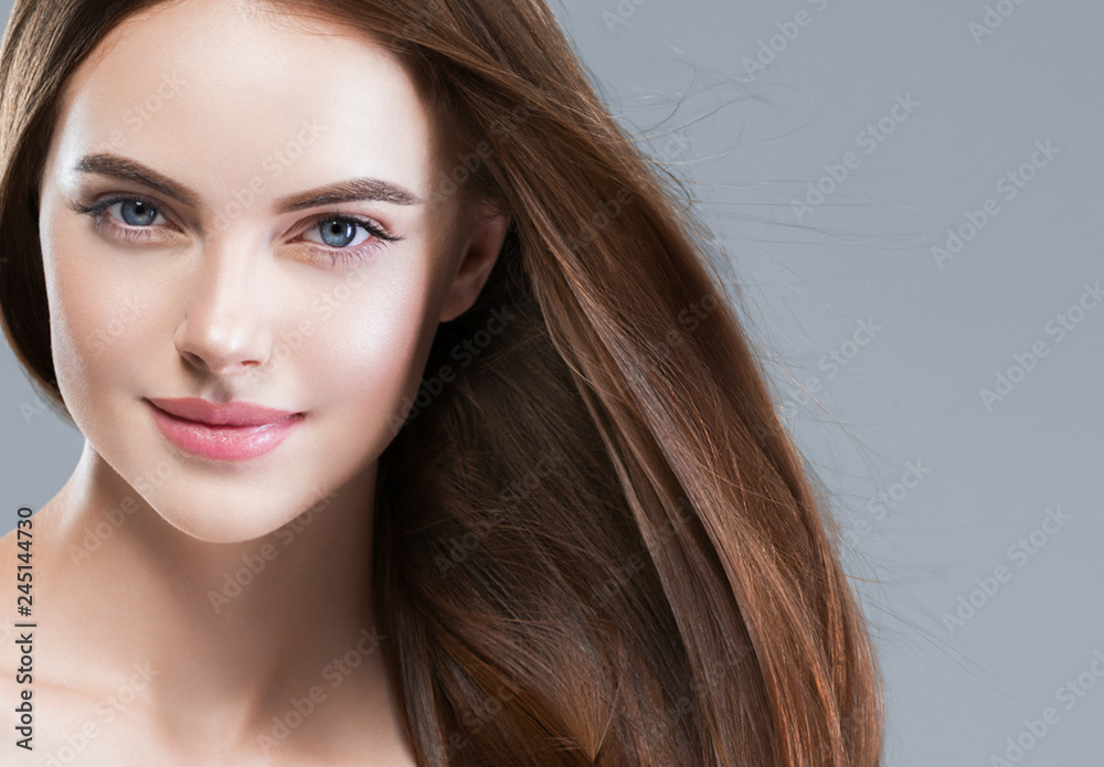 Fototapety, obrazy: Beautiful hair woman long brunette hairstyle female healthy skin beauty makeup cosmetic concept