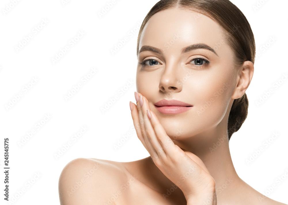Fototapeta Healthy skin woman beauty face closeup female cosmetic portrait