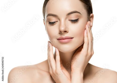 Obraz Healthy skin woman beauty face closeup female cosmetic portrait - fototapety do salonu