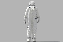 3d Rendering Space Man On Whit...