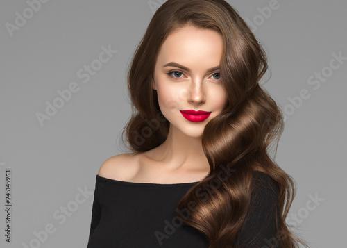 Obraz Beautiful hair woman long brunette hairstyle female healthy skin beauty makeup cosmetic concept - fototapety do salonu
