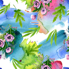 Panel Szklany Do pokoju dziewczyny Pink purple poppy botanical flower. Watercolor illustration set. Seamless background pattern.