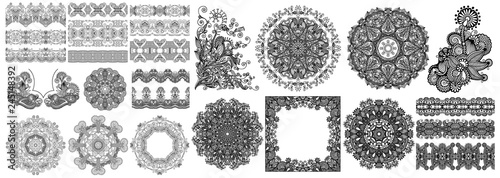 Valokuva  collection of seamless decorative ethnic ornamental floral design