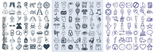 Cuadros en Lienzo set of 147 hand draw web doodle icon