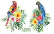 Leinwanddruck Bild - Watercolor tropical floral illustration -green leaves, parrots & flowers, bouquets for wedding stationary, greetings, wallpapers, fashion, backgrounds, textures, DIY, wrappers, postcards, logo, etc