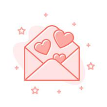 Love Letter Envelope Design Heart Vector Concept