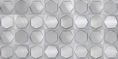 NaklejkaConcept Metal Tiled Wall (3d Illustration)