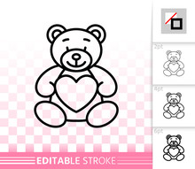 Bear Teddy Cute Toy Simple Black Line Vector Icon