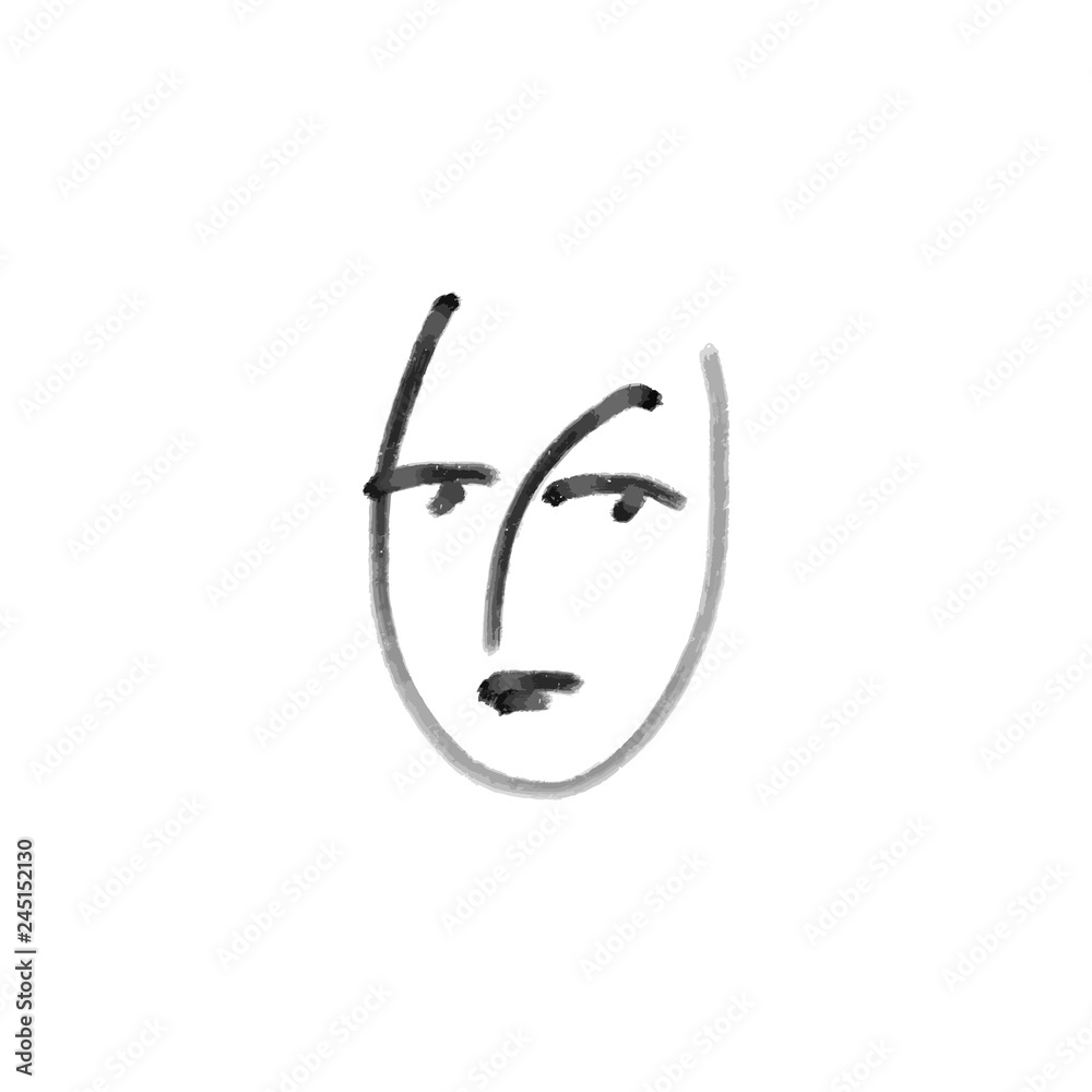 Simple hand drawn black and white trendy line portrait art